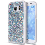 Galaxy S8 Case,S8 Cover,Galaxy S8 Bling Case,ikasus Luxury Sparkle 3D Bling Diamond Glitter Paillette Flexible Soft Rubber Gel TPU Protective Skin Bumper Silicone Case Cover for Galaxy S8,Silver