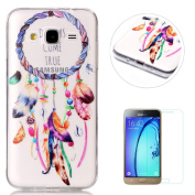 Samsung Galaxy J3 2016/2015 Soft Clear Silicone Case + Free Screen Protector,KaseHom Colourful Feather Dreamcatcher Fashion Pattern Design Crystal Flexible Skin Ultra Slim Anti-Scratch Transparent Thin Durable Rubber Shell Shockproof Bumper Silicone Ge ..