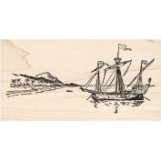 Pirate Ship Rubber Stamp Wood Mount