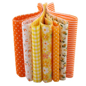 10X50CM 7pcs Orange Series Floral Jelly Roll Fabric Strips Cotton Plain Tissues Tela For DIY Sewing Patchwork Crafts Doll Cloth