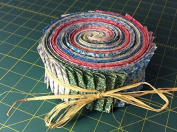"""GRANDMA'S CALICO JELLY ROLL FOR QUILTING, 42 2.5"""" STRIPS, AND BONUS RETRACTABLE TAPE MEASURE"""
