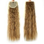 USIX 50cm Hair Piece Wrap Around Ponytail Extension Wave Curly Nature Looking Heat-Resisting Ponytail Extension