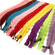 HugeStore Lace Nylon Fasteners Invisible Coil Zippers for Clothing and Crafts 10 Pcs