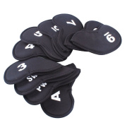 Tenflyer Pack of 10 Golf Head Cover Club Iron Putter Head Protector Set Neoprene Black