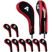 Andux Number Print Golf Iron Head Covers with Zipper Long Neck 10pcs/set 5 colours optional