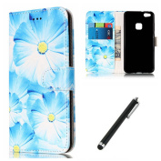 Huawei P10 Lite Marble Case,P10 Lite Wallet Case,Beddouuk Creative Blue Flower Pattern PU Leather Wallet Case [Magnetic Closure][Card Pockets][Kickstand Feature],Ultra Slim Flip Cover Bookcase Full Body Protective Case Cover for Huawei P10 Lite-Blue Fl ..