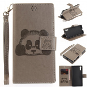 For Sony Xperia XZ / XZs Case [with Free Screen Protector], Qimmortal(TM) 3D Emboss Panda PU Leather With Kickstand Card Cash Packet Magnetic Flip Book Wallet Cover For Sony Xperia XZ / XZs