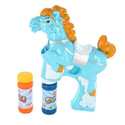 LilPals BUBBLE GUN SHOOTER – PAT THE PONY WITH LIGHT, SOUND and BUBBLE SOLUTION INCLUDED FOR KIDS 3 YEARS OLD AND UP