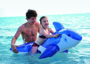 140cm Transparent Blue and White Whale Rider Inflatable Swimming Pool Float Toy