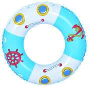 80cm Blue and White Boat and Anchor Inflatable Swimming Pool Inner Tube Ring Float