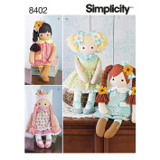 SIMPLICITY 8402 STUFFED DOLL WITH CLOTHES SEWING PATTERN