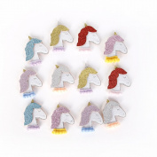 Felt Glitter Unicorn Patch Applique 12 Pcs For DIY Hair Bow Hair Clip Accessories Party Home Decoration Supply