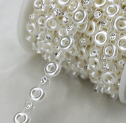 AEAOA 8mm Ivory Round Pearl And Rhinestone Chain Sewing Trims Cake Decoration LZ117