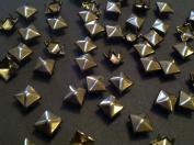 CraftbuddyUS 100 X 5mm Gunmetal Square Pyramid Craft Studs, Fashion Embellishment for Bag Shoe