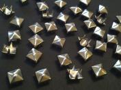 CraftbuddyUS 100 X 5mm Silver Square Pyramid Craft Studs, Fashion Embellishment for Bag Shoe