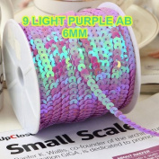 BarFeer 100 Yards 6Mm Ab Multi-Coloured Sequins Trim Sold Per Packet Of 1 Roll(100 Yards)-12 Light Purple Ab