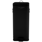 Charles Bentley Home 30L Steel Square Retro Kitchen Pedal Rubbish Waste Bin - Black