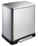 "EKO ""E-Cube"" Recycle Pedal Bin, Matt Stainless Steel, 10 Plus 9 Litre"