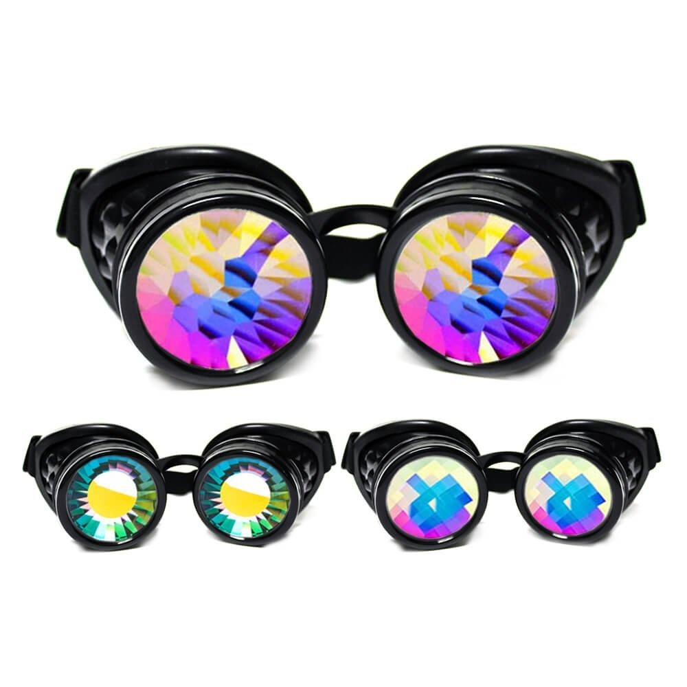 422631aef4424 GloFX Black Kaleidoscope Goggles - Prism Steampunk Cyber Real ...