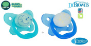 """DR BROWN """"PRE VENT"""" Nr.PV22006- 2x Soothers Pacifiers Dummies Orthodontic Silicone, Glows in the Dark/ BLUE"""