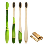 TEVRA - Biodegradable Bamboo toothbrush with Charcoal Bristles - Natural Dental Care for All Family