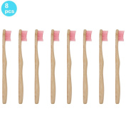 SoniFox 8Pcs Bamboo Toothbrush for Kids Eco-Friendly biodegradable Bamboo Handles and BPA-Free Nylon Bristles For Natural Dental Pink Colour