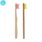 SoniFox 2Pcs Bamboo Toothbrush for Kids Eco-Friendly biodegradable Bamboo Handles and BPA-Free Nylon Bristles For Natural Dental Pink and Yellow Colour
