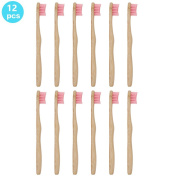 SoniFox 12Pcs Bamboo Toothbrush for Kids Eco-Friendly biodegradable Bamboo Handles and BPA-Free Nylon Bristles For Natural Dental Pink Colour