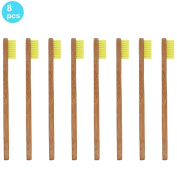 SoniFox 8Pcs Bamboo Toothbrush for Kids Eco-Friendly biodegradable Bamboo Handles and BPA-Free Nylon Bristles For Natural Dental Yellow Colour
