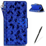 Samsung Galaxy J510 Wallet Case,MAGQI Luxury PU Leather Case Laser Carved Technology Butterfly Series Design [Card Slots & Money Pocket] Magnetic Closure Stand Function Slim Fit Protective Flip Book Style Cover with Detachable Hand Strap + Free Stylus ..