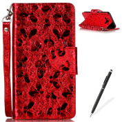 Samsung Galaxy J710 Wallet Case,MAGQI Luxury PU Leather Case Laser Carved Technology Butterfly Series Design [Card Slots & Money Pocket] Magnetic Closure Stand Function Slim Fit Protective Flip Book Style Cover with Detachable Hand Strap + Free Stylus ..