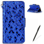 Samsung Galaxy S5/I9600 Wallet Case,MAGQI Luxury PU Leather Case Laser Carved Technology Butterfly Series Design [Card Slots & Money Pocket] Magnetic Closure Stand Function Slim Fit Protective Flip Book Style Cover with Detachable Hand Strap + Free Sty ..