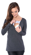 Mija - 2 in1 Maternity and Nursings Long sleeve Shirt Top Soft material 9063