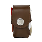 Clip-on Mini Artificial Leather Golf Ball Holder Pouch Bag with 2 Balls Golfer Aid Tool Gift Brown