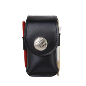Clip On Mini Artificial Leather Golf Ball Holder Pouch Bag with 2 Balls Golfer Aid Tool Gift Black