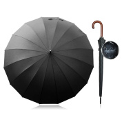 Windproof Umbrella Royal Walk - Black Large 140cm Automatic Open Umbrella Oversized for 2 Persons Long Stick Stormproof Classic with Wooden Handle for Men and Women Lightweight Waterproof Durable and Strong 16 Fibreglass Ribs Travel Golf Umbrella S ..