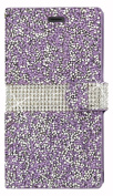 Reiko Bling Diamond Wallet Case for ZTE Warp Elite N9518 - Retail Packaging - Purple
