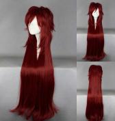 Wig Black Butler - Grell Sutcliff Cosplay 100 cm Long Dark Red