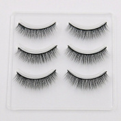 VanMe 3 Pairs Of Fitted 3D Eyelashes Natural Thick Short Paragraph Black Stems Soft Stems False Eyelashes S-1