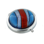 STUNNING BLUE RED SILVER DOUBLE MIRROR SILVER PLATED COMPACT MIRROR