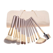 Woman Wooden Handle 12 Make-up Brush Beauty Makeup Tools Suits Portable Models Beginners PU