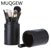 Makeup Brushes, Quistal Black Brush Container Cylinder Vessel PU Pound Holder Cosmetic