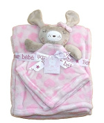 Baby Girls Gorgeous Pink Love Hearts Blanket and Cute Bunny Rabbit Comforter