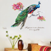 LianLe Peacock Wall Sticker Removable Decal for Kid's Room Living Room Bedroom