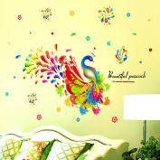 Colourful Peacock Flowers Wall Sticker Decal Home Paper PVC Murals House Wallpaper Bedroom Kids Babies Living Room Art Picture Decoration