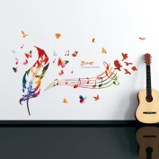 Feather Musical Notes Butterflies Wall Sticker Decal Home Paper PVC Murals House Wallpaper Bedroom Kids Babies Living Room Art Picture Decoration