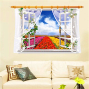 XMJR 3D creative decorative wall stickers window stickers bedrooms sofas living room background scenery specifications 87.5*58cm