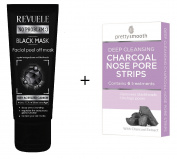 Revuele Black Peel Off Face Mask + Charcoal Nose Strips Face Cleaning Set | Deep pore cleansing, acne and blackheads 80ml / 6 strips