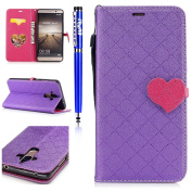 FESELE Huawei Mate 9 Case, Huawei Mate 9 Cover,FESELE Two Colour Mixed Love Heart Magnetic Closure Stylish Yet Simple Design Premium PU Leather Magnetic Flip Case Cover Pouch Protective Case with Card Slot and Strap For Huawei Mate 9- Purple