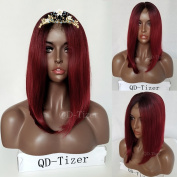QD-Tizer Short Burgundy Ombre Hair Bob Wigs Synthetic Lace Front Wigs Glueless Hair Wigs for Fashion Women 41cm